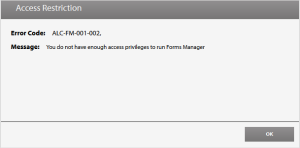 Forms Manager Not Enough Access Privileges